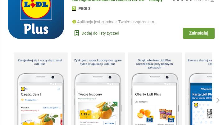 Aplikacja Lidl Plus kupony rabatowe i zniżki na zakupy