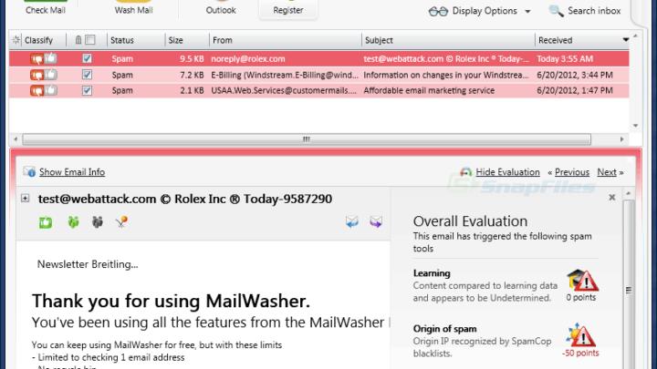 MailWasher Free darmowy program antyspamowy