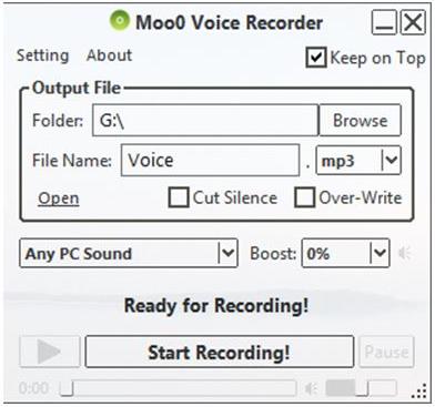 Moo0 Voice Recorder darmowy rejestrator dźwięku