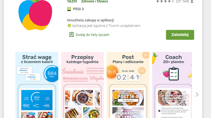 YAZIO Licznik Kalorii po polsku