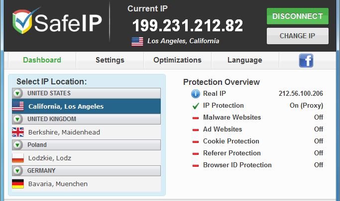 SafeIP program do zmiany IP za darmo