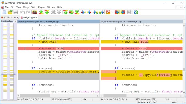 WinMerge program do porównania plików