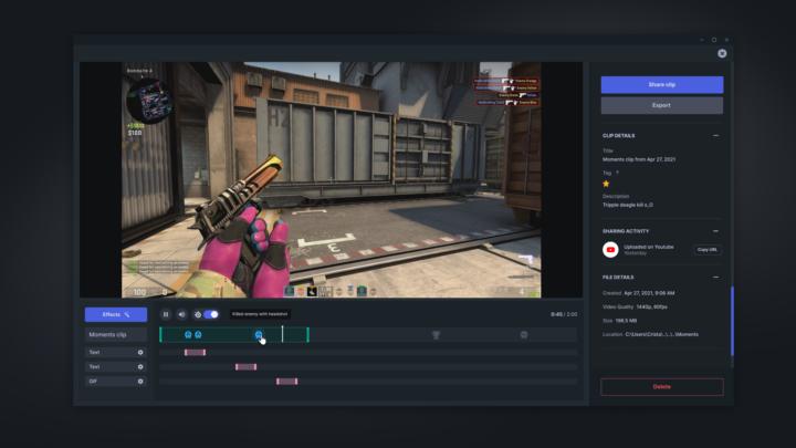 Moments darmowy program do nagrywania wideo z gier